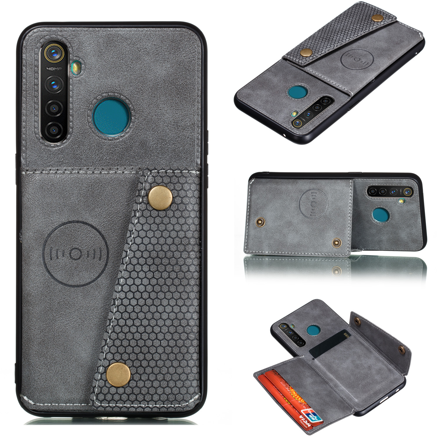 For OPPO Realme 5/5 Pro Mobile Phone Shell Buckle Closure Wallet Design Overall Protective Smartphone Cover  gray