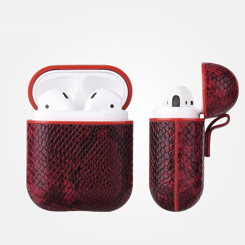 Luxury AirPods Case Leather Protective Cover Skin for Apple AirPod Charging Case rose Red