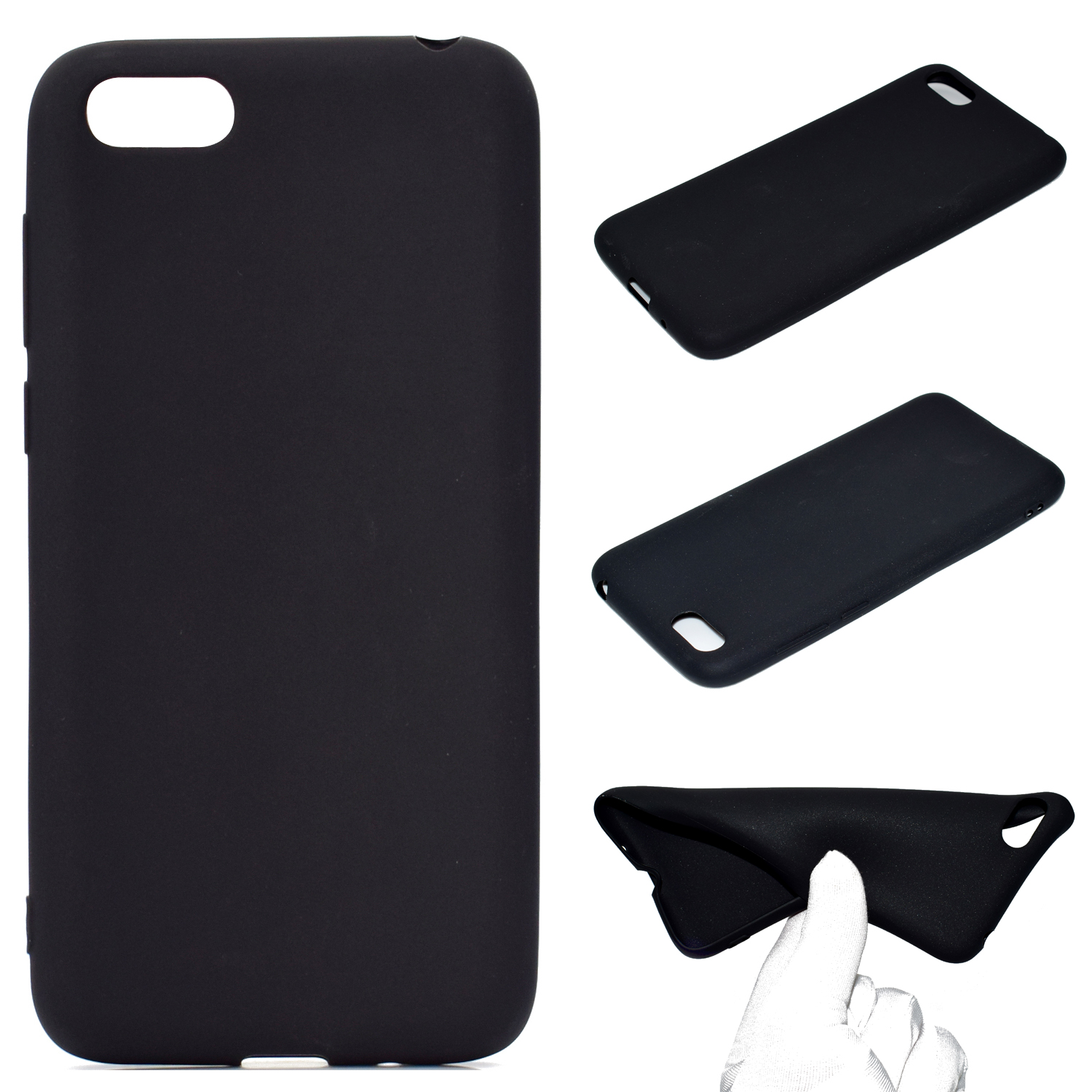 for HUAWEI Y5 2018 Cute Candy Color Matte TPU Anti-scratch Non-slip Protective Cover Back Case black