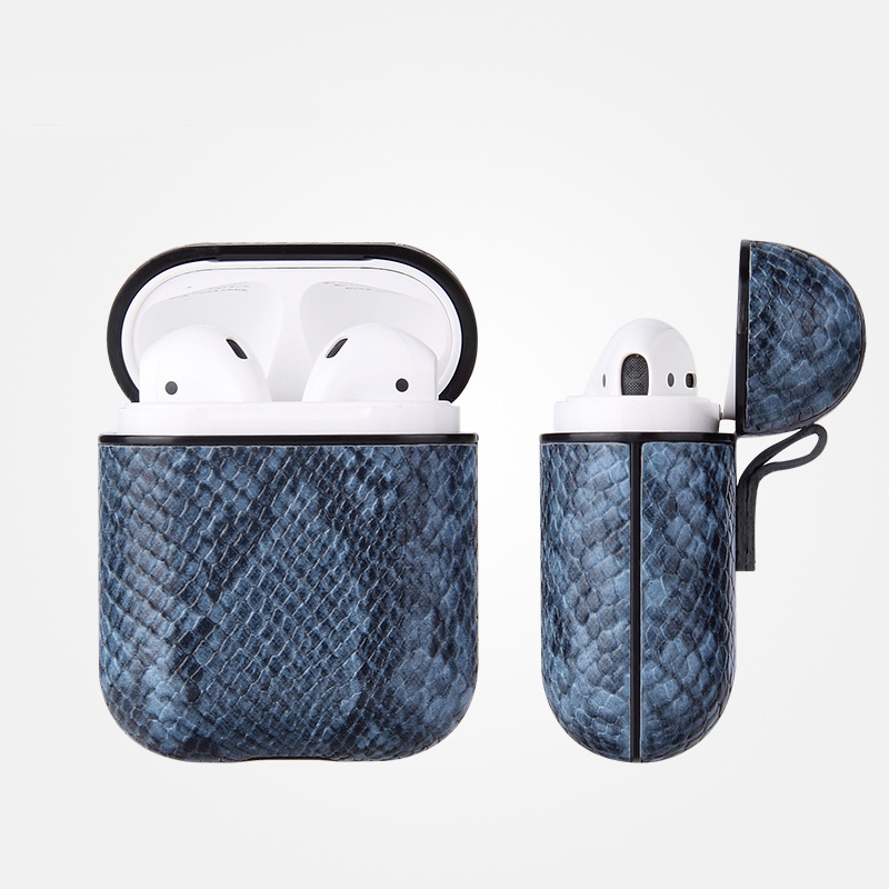 Luxury AirPods Case Leather Protective Cover Skin for Apple AirPod Charging Case blue