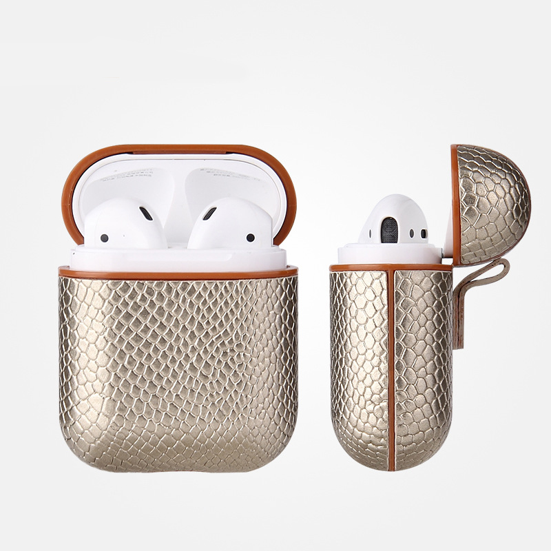 Luxury AirPods Case Leather Protective Cover Skin for Apple AirPod Charging Case gold