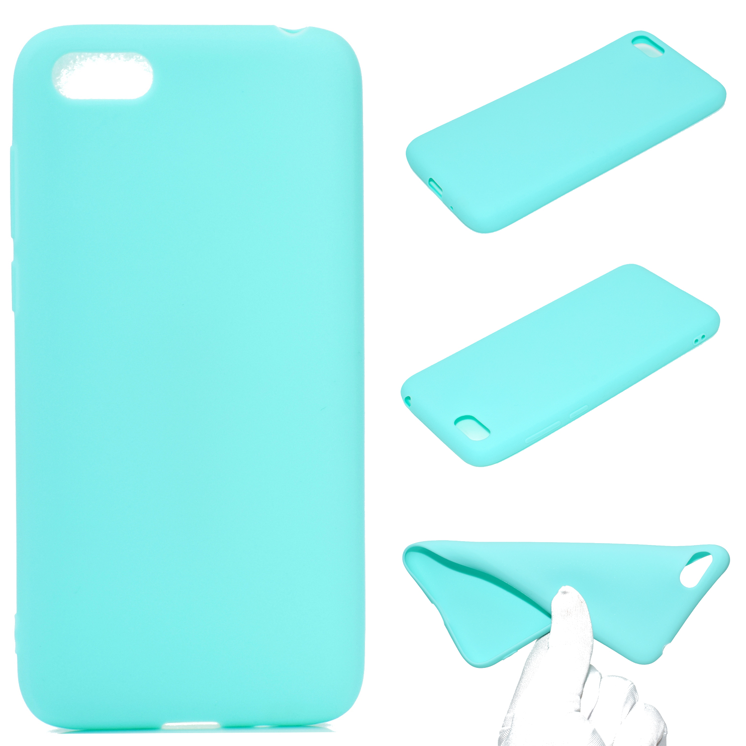 for HUAWEI Y5 2018 Cute Candy Color Matte TPU Anti-scratch Non-slip Protective Cover Back Case Light blue