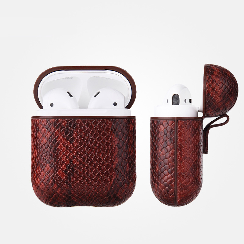Luxury AirPods Case Leather Protective Cover Skin for Apple AirPod Charging Case brown