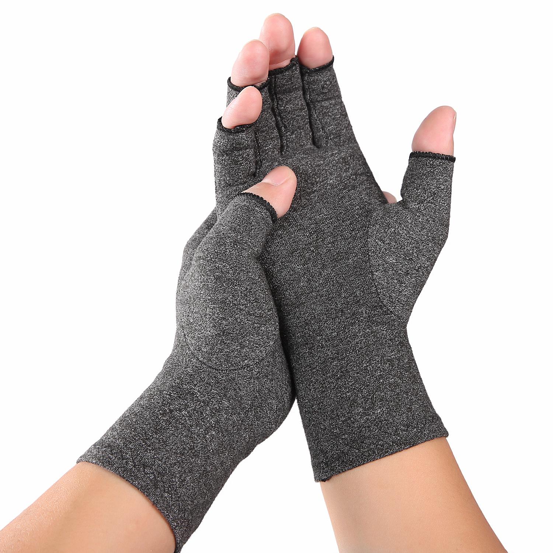 Men Women Indoor  sports Fingerless Pressure Gloves Arthritis Rehabilitation Training Nursing  gray_M
