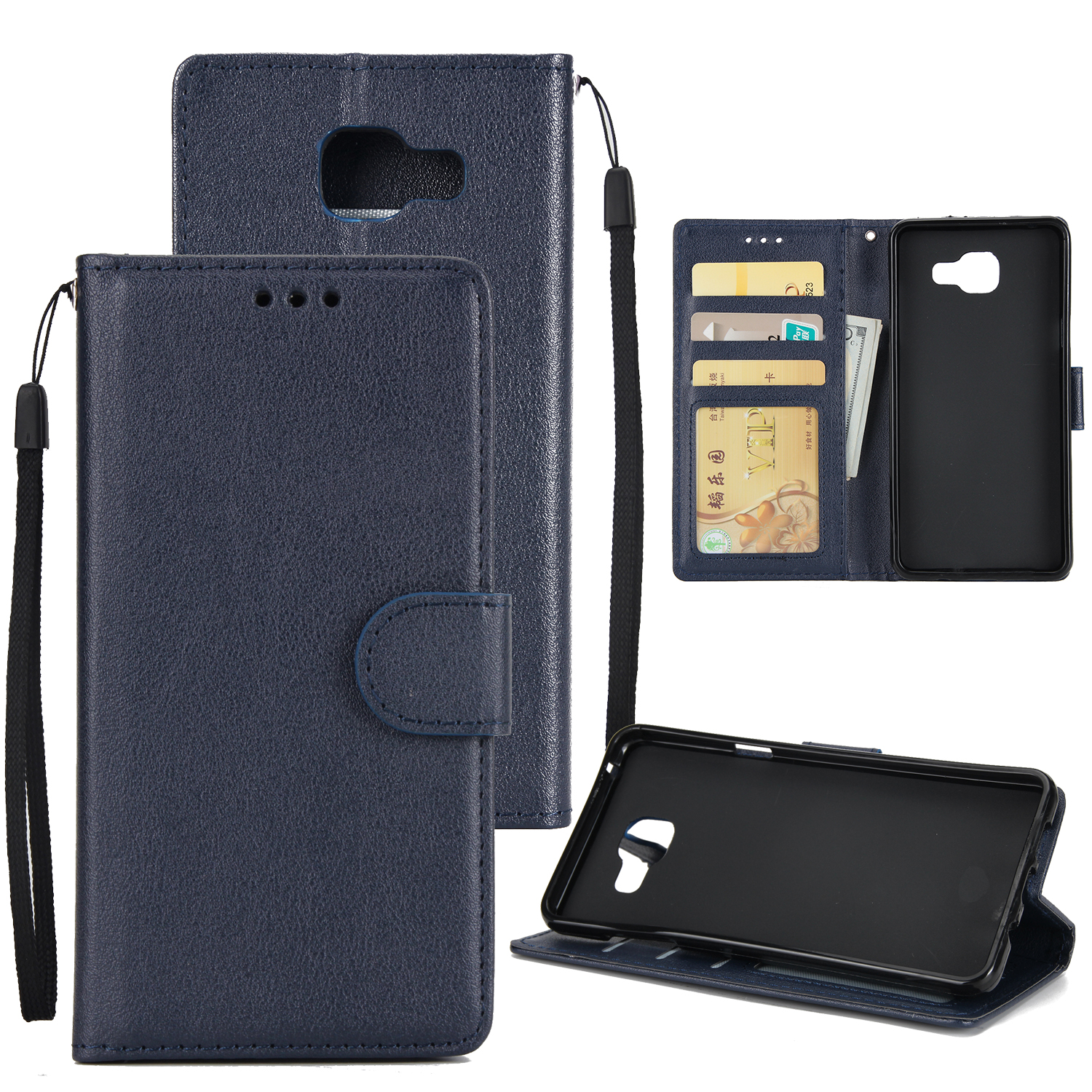 For Samsung On7-2016/J7 Prime Protective Cover PU Cell Phone Case with Card Slot blue
