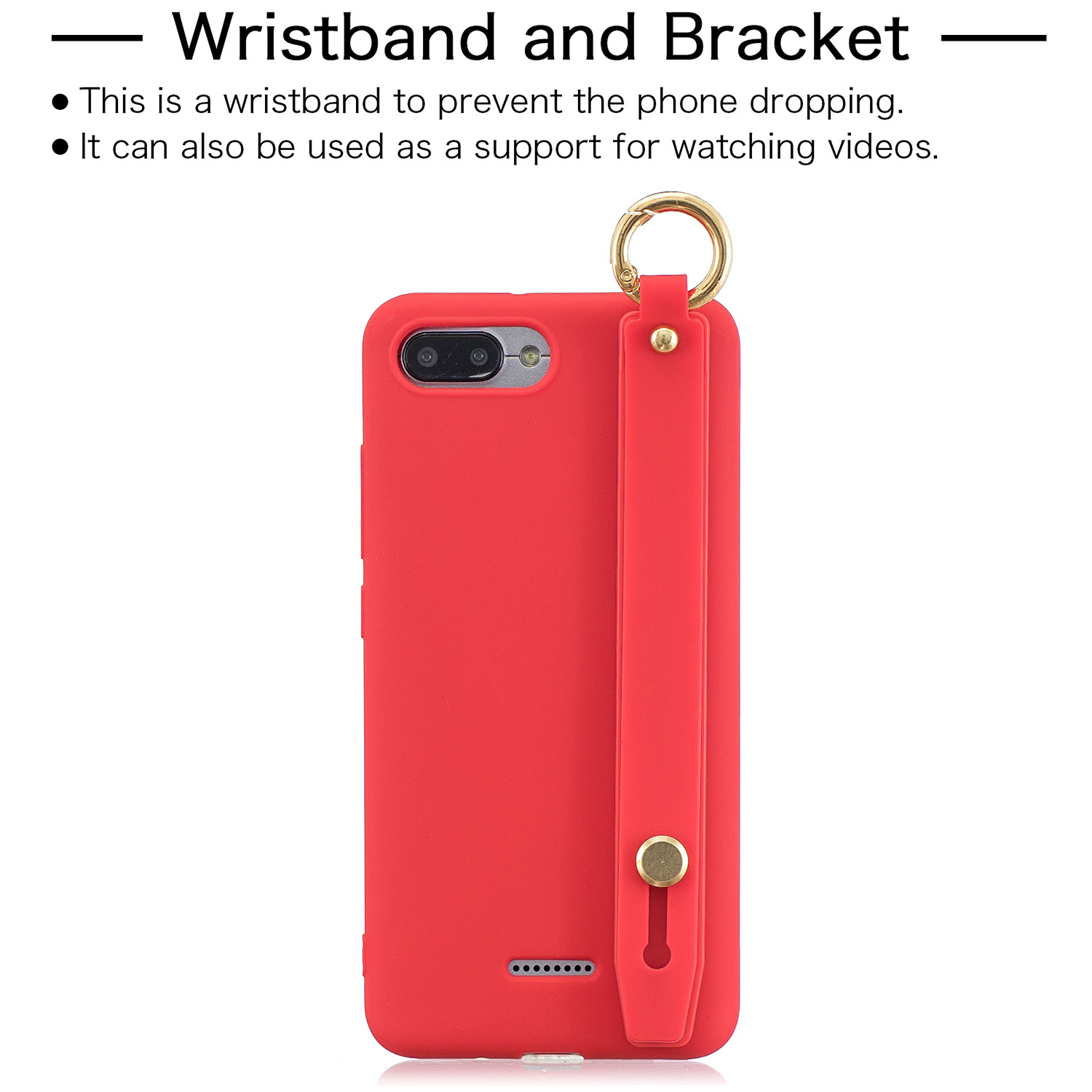 For Redmi 6A Simple Solid Color Chic Wrist Rope Bracket Matte TPU Anti-scratch Non-slip Protective Cover Back Case 4 red