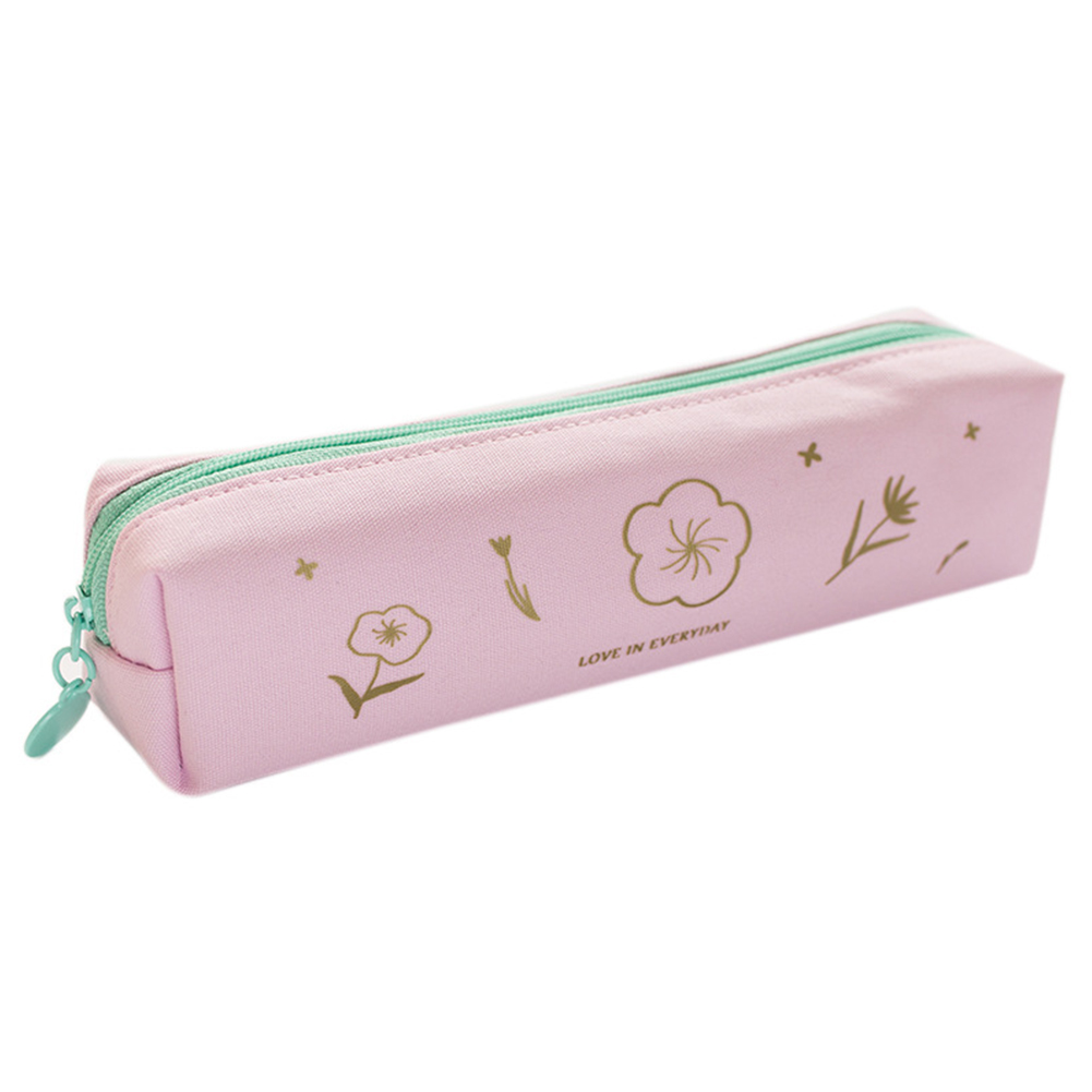Thicken Large Capacity Cherry Blossom Pattern Canvas Pencil Case