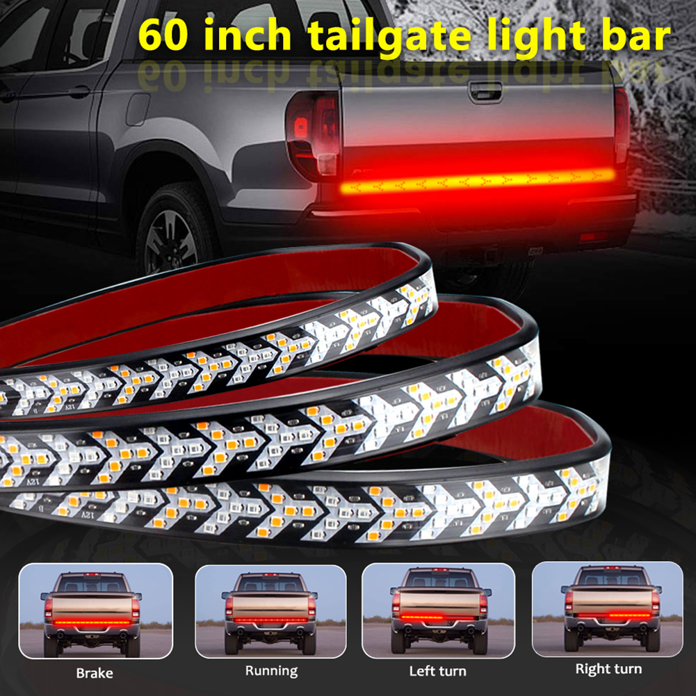 Tailgate Strip Light Waterproof Turn Signal Running Reverse Lights for Truck Off-road Vehicles Red and yellow