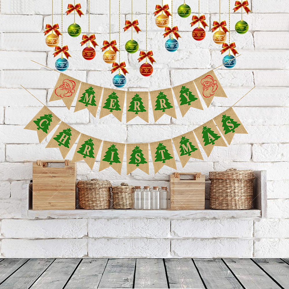 Welcome Baby Home Back Banners Supplies Happy Birthday Decorations Diy Letters Linen Pull Flags Heart Pineapple Sun Decorations Double row Merry Christmas linen swallowtail flag