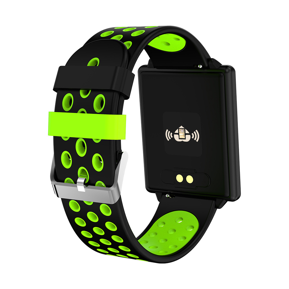 Green Color Screen Smart Bracelet Heart Rate Blood Pressure Detector Information Remind Double Color Strap Watch