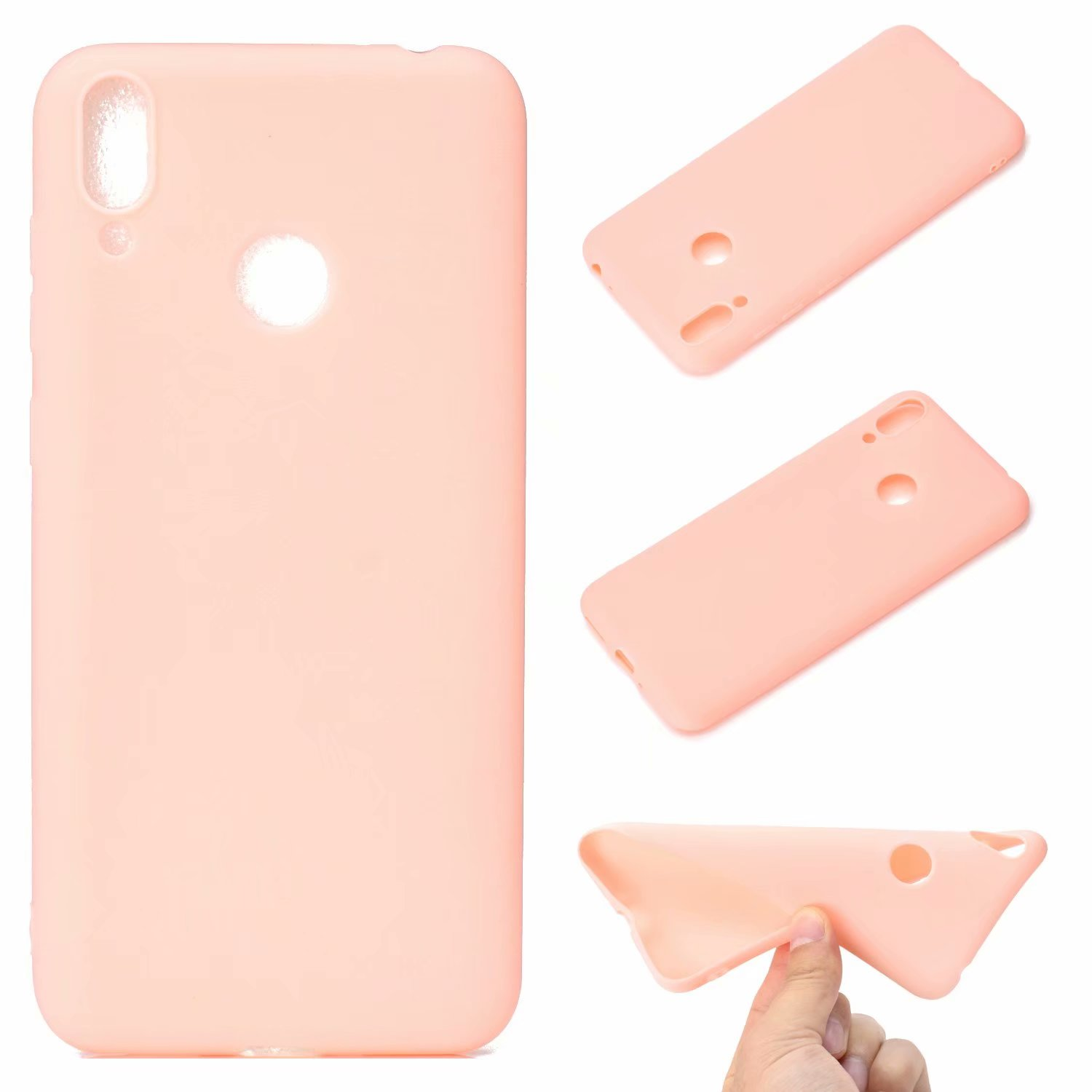 For HUAWEI Honor 8C Lovely Candy Color Matte TPU Anti-scratch Non-slip Protective Cover Back Case Light pink