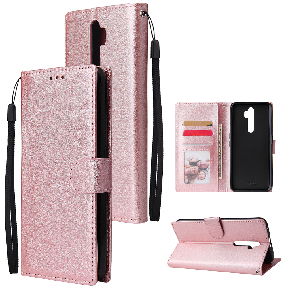 For Oppo A9 2020/Reno 2Z Cellphone Shell PU Leather Mobile Phone Cover Stand Available Anti-drop Elegant Smartphone Case Rose gold