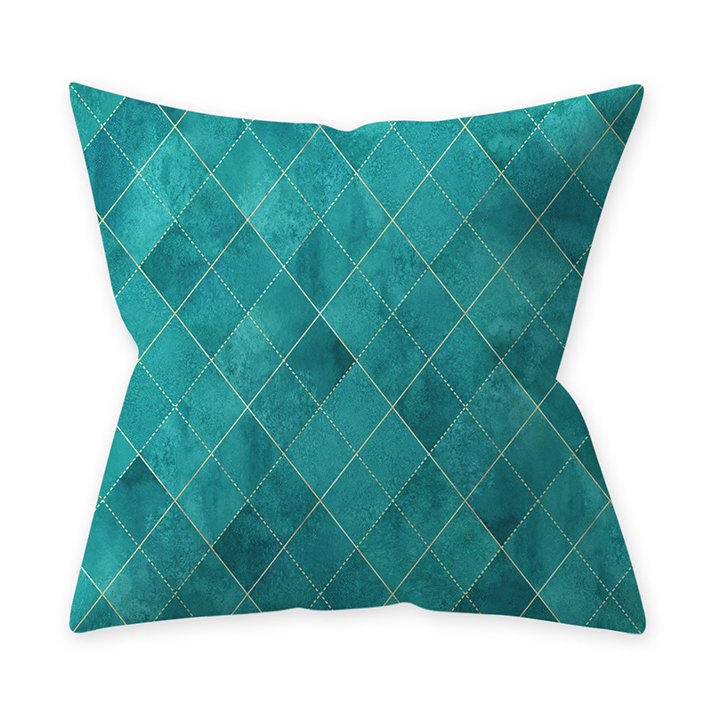 Home Teal Blue Series Printing Throw Pillow Cover for Decoration 11#_45*45cm