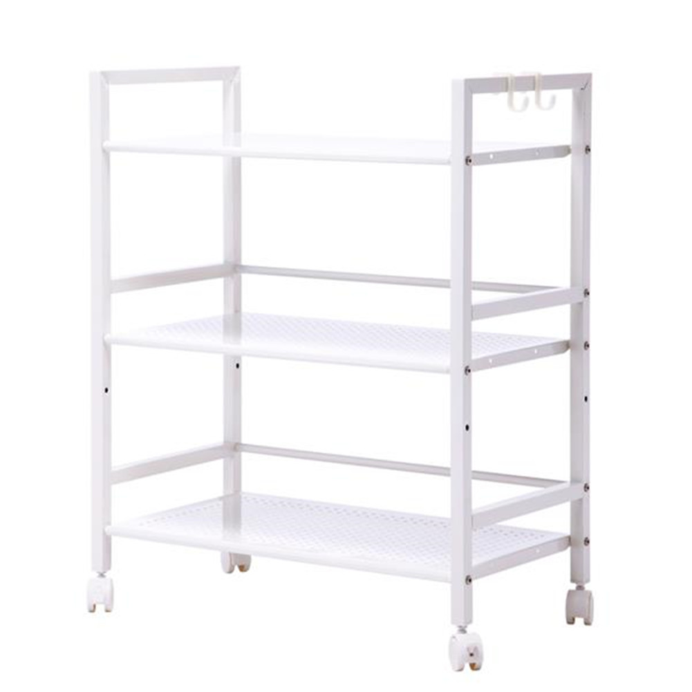 [US Direct] Widened Cart 3-tier Multi-function Layer Cart-xm_463w Moveable Storage Rack white