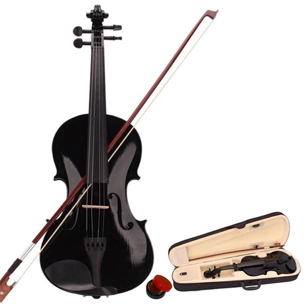 [US Direct] 1 Set Pine 4/4 Black Solid Wood Acoustic  Violin Case Bow Rosin black