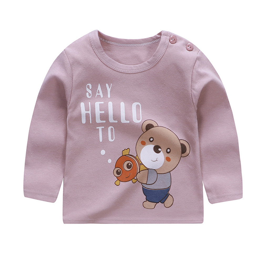 Children's T-shirt  Long-sleeved Cartoon Print All-match Top for 1-5 Years Old Kids D_80cm