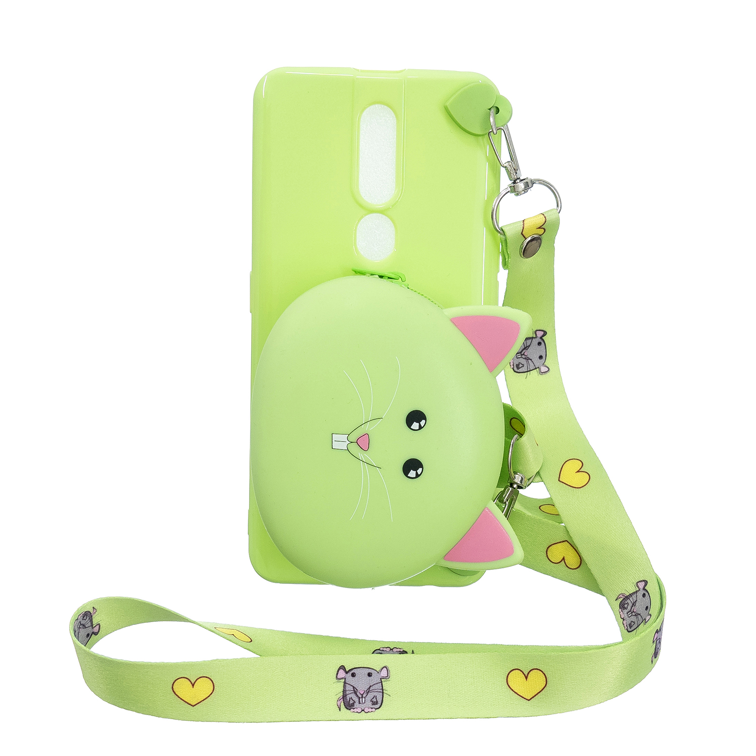 For OPPO F11/F11 Pro Cellphone Case Mobile Phone TPU Shell Shockproof Cover with Cartoon Cat Pig Panda Coin Purse Lovely Shoulder Starp  Green