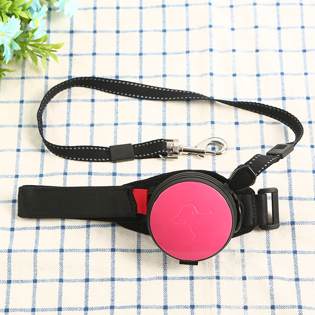 Pet Leashes Hands-free Automatic Shrink Nylon Leash Pets Pull Dog Chains Traction Ropes Rose red_L
