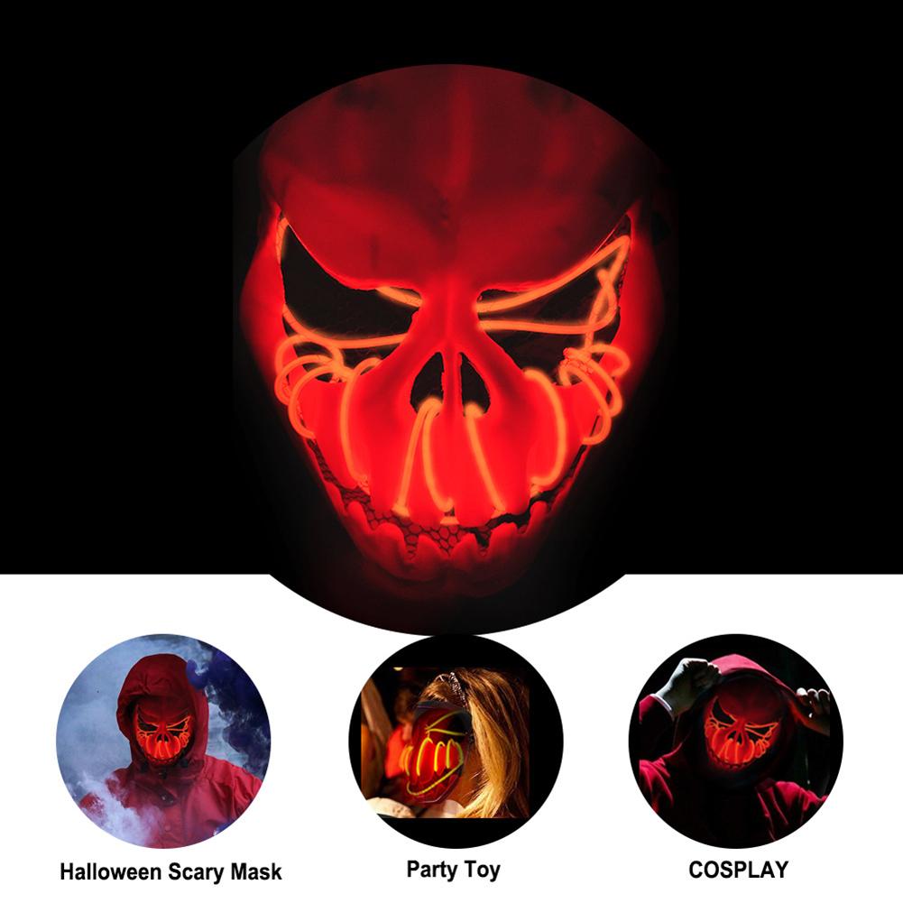 Scary Skull Pumpkin Shape Luminous Mask Cosplay Prop for Halloween Party punpkin color