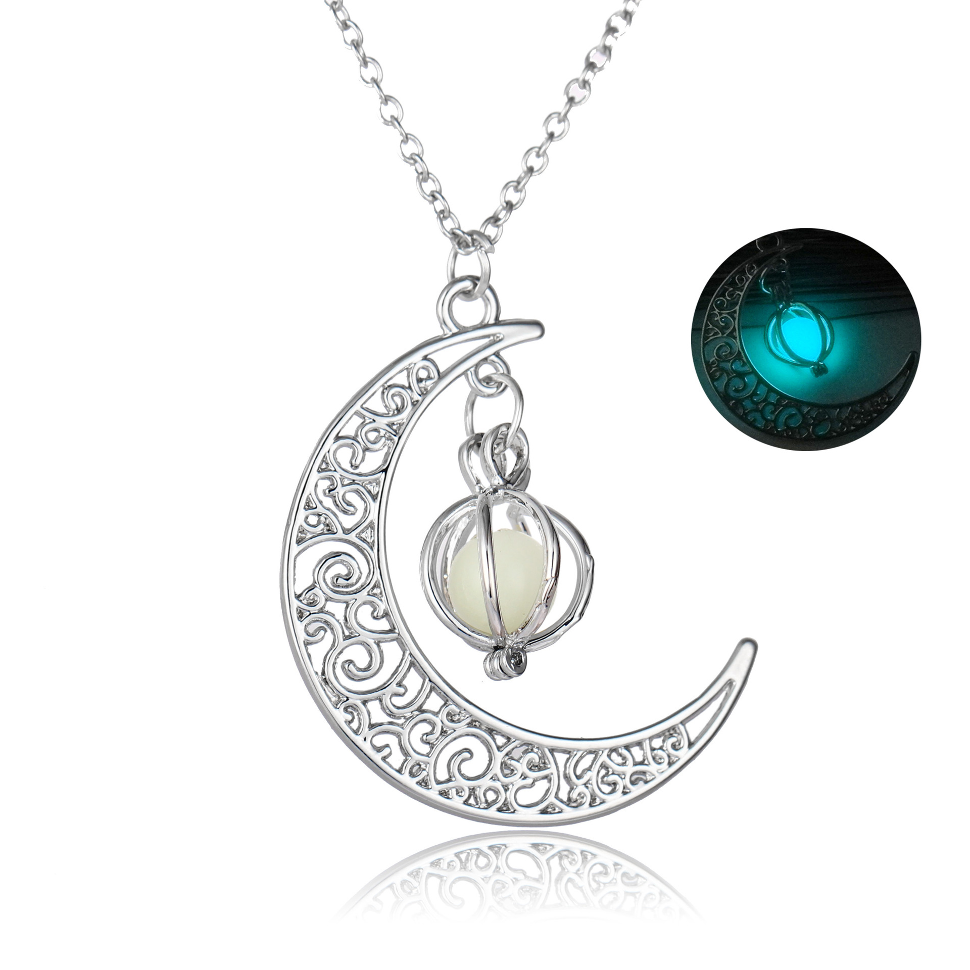 Halloween Decorations Gifts Ornaments Christmas Gifts Glowing Moon Pumpkin Creative Pendant Sky Blue Luminous Women Necklace  NY353_Blue Green