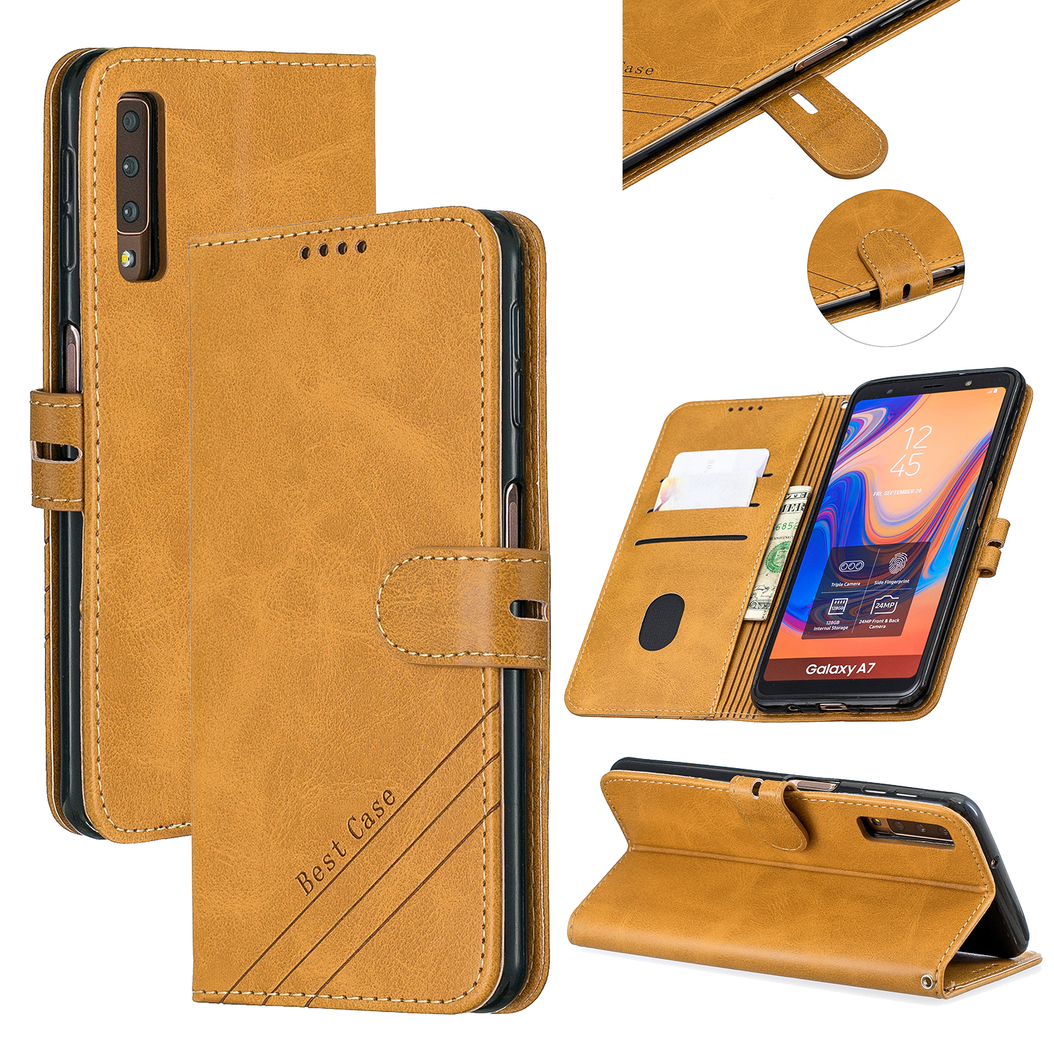 For Samsung A7 2018 Denim Pattern Solid Color Flip Wallet PU Leather Protective Phone Case with Buckle & Bracket yellow