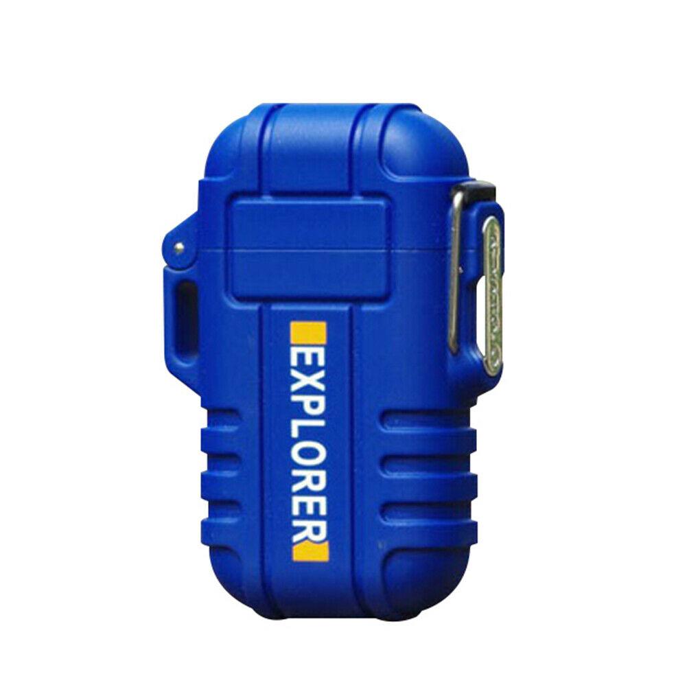 Electric Lighter Dual Arc Cigarette Plasma Rechargeable Windproof Flameless USB Lighter blue