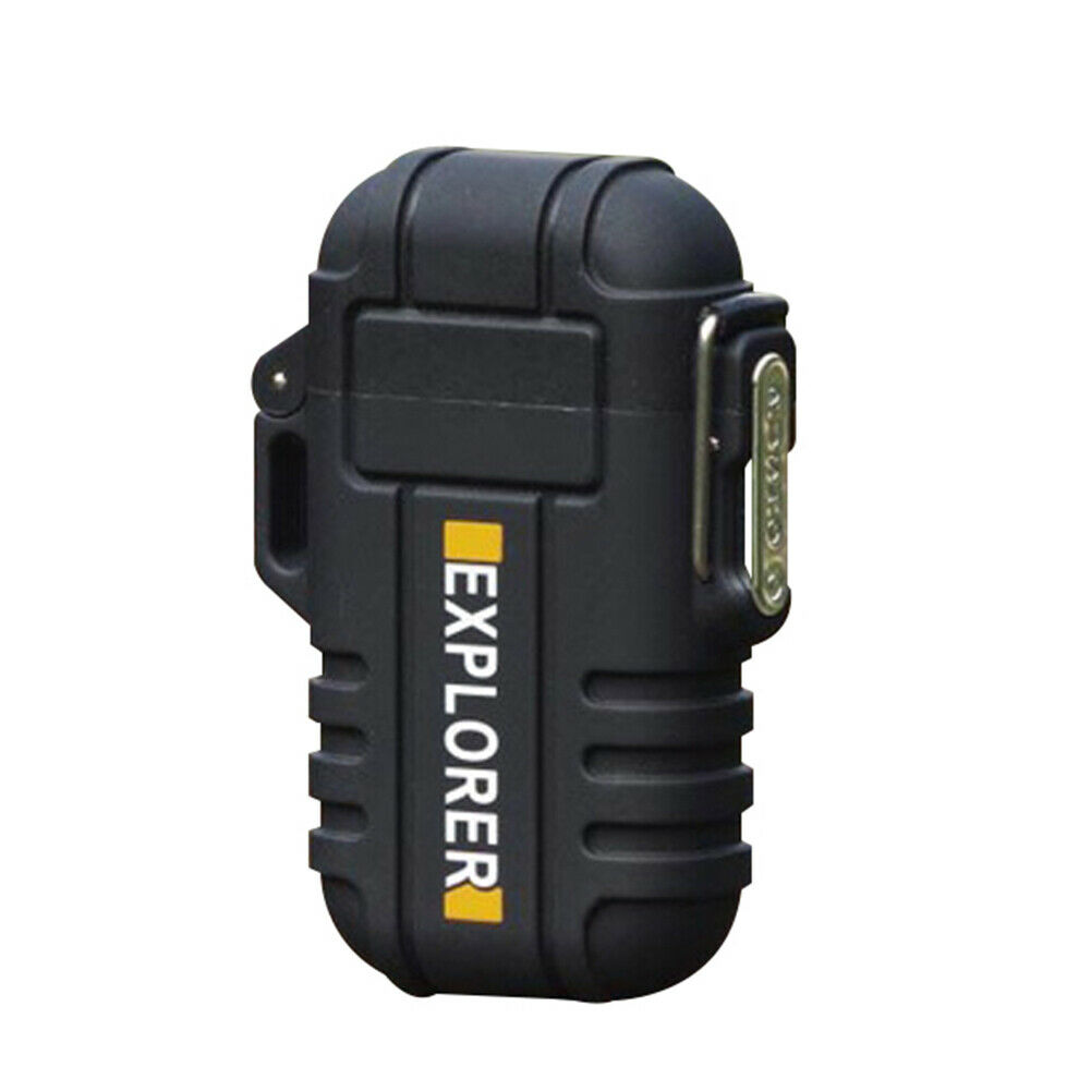 Electric Lighter Dual Arc Cigarette Plasma Rechargeable Windproof Flameless USB Lighter black