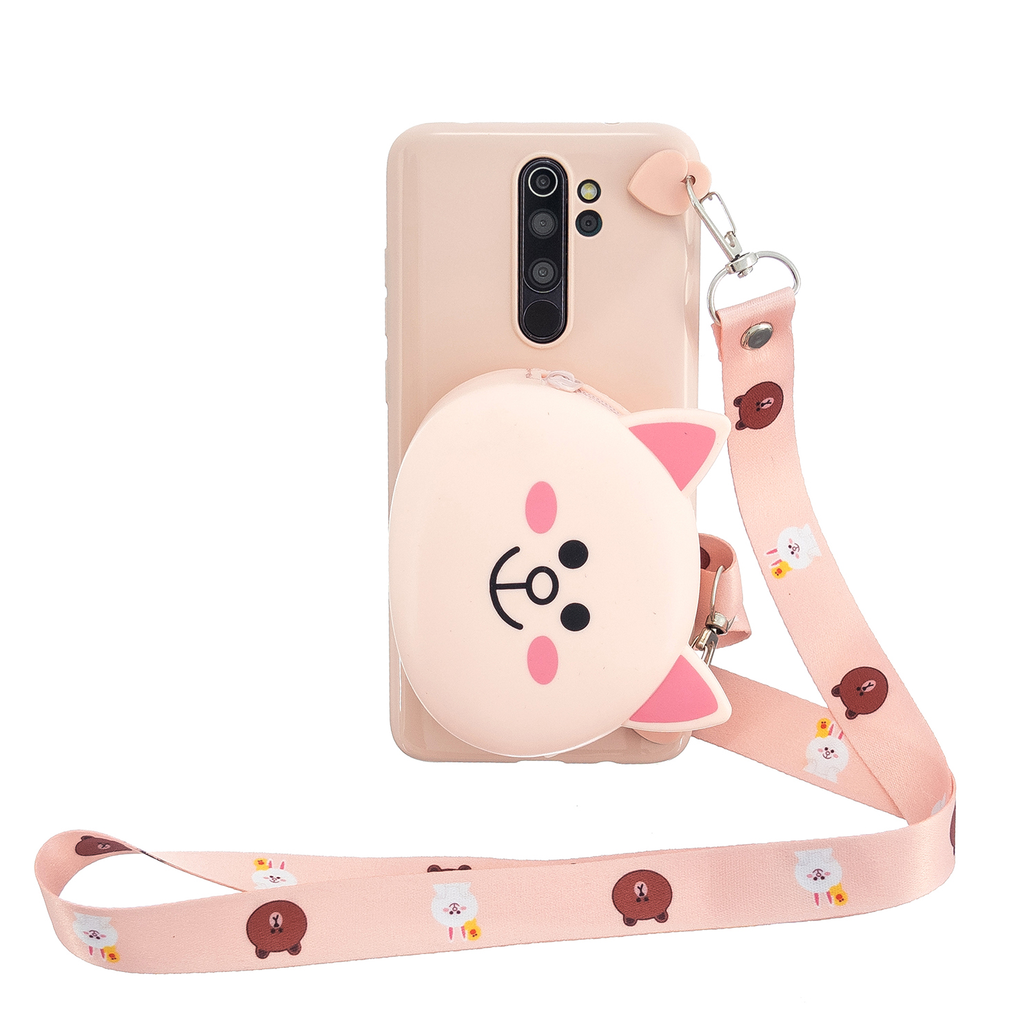 For Redmi Note 8/8T/8 Pro Cellphone Case Mobile Phone Shell Shockproof TPU Cover with Cartoon Cat Pig Panda Coin Purse Lovely Shoulder Starp  Pink
