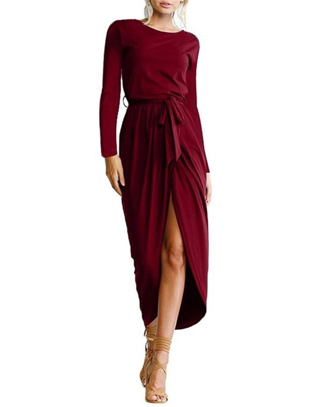 Women Fashionable Slim Design Sexy Dress Round Collar Long Sleeve Split Irregularity Dress with Belt
