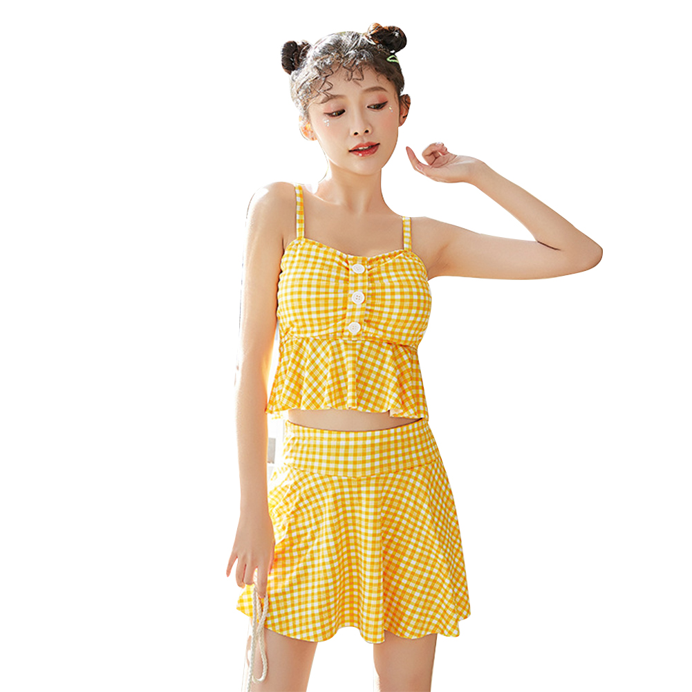 2 Pcs/set Female  Summer  Swimsuit  Split Two-piece Small Fresh Conservative Swimsuit For Women yellow_M