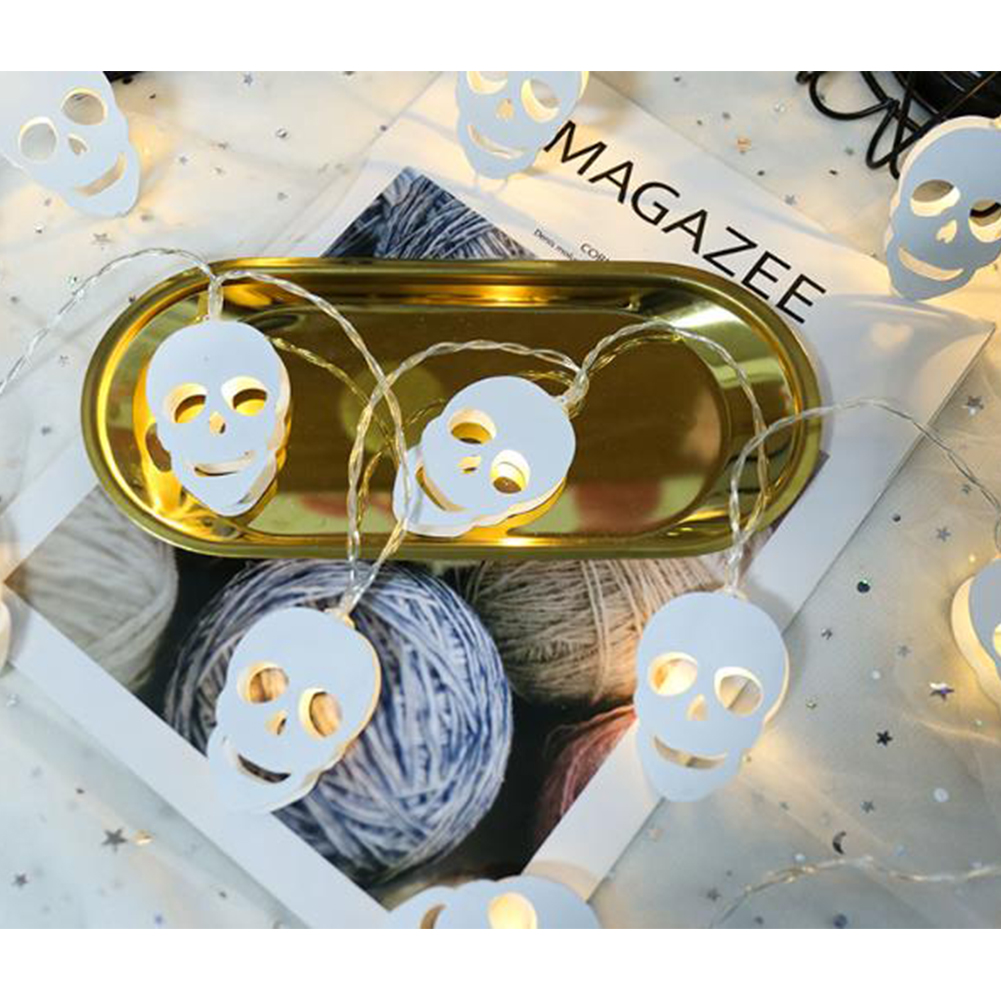 Halloween  White Metal  Holiday String Led Light USB Battery White Metal Ghost Garland Home Room Party Wedding Decorative 3 meters 20 lights [battery models]