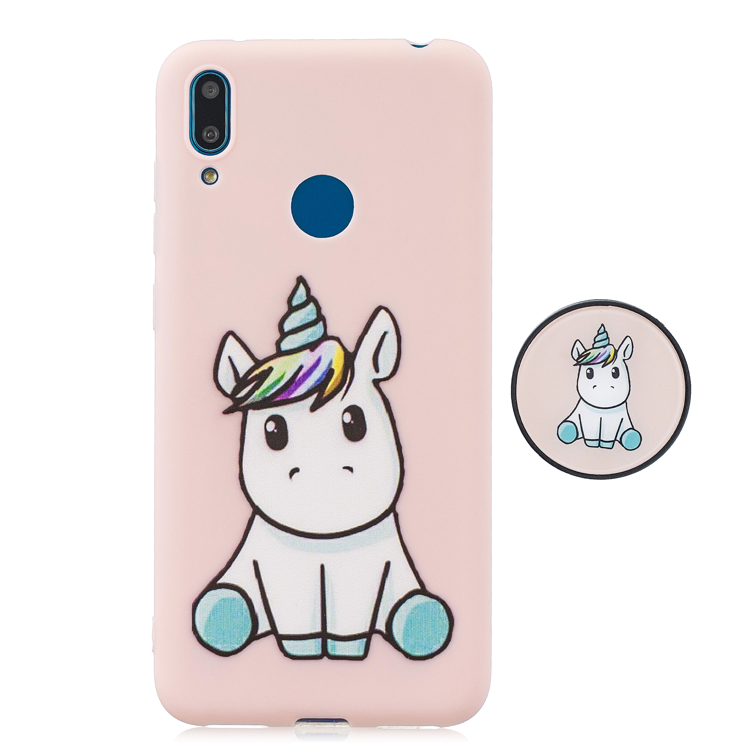 For HUAWEI Y7 2019 Flexible Stand Holder Case Soft TPU Full Cover Case Phone Cover Cute Phone Case 6