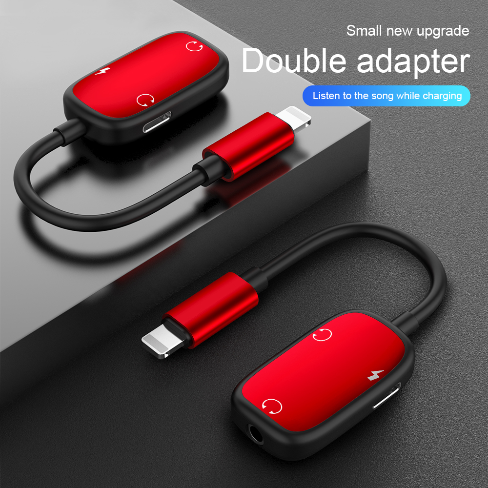 3 in 1 Audio Adapter charging Earphone Cable Jack headset For 8 Pin 3.5 mm To Headphone splitter For iPhone XS X 7 8 plus Aux red