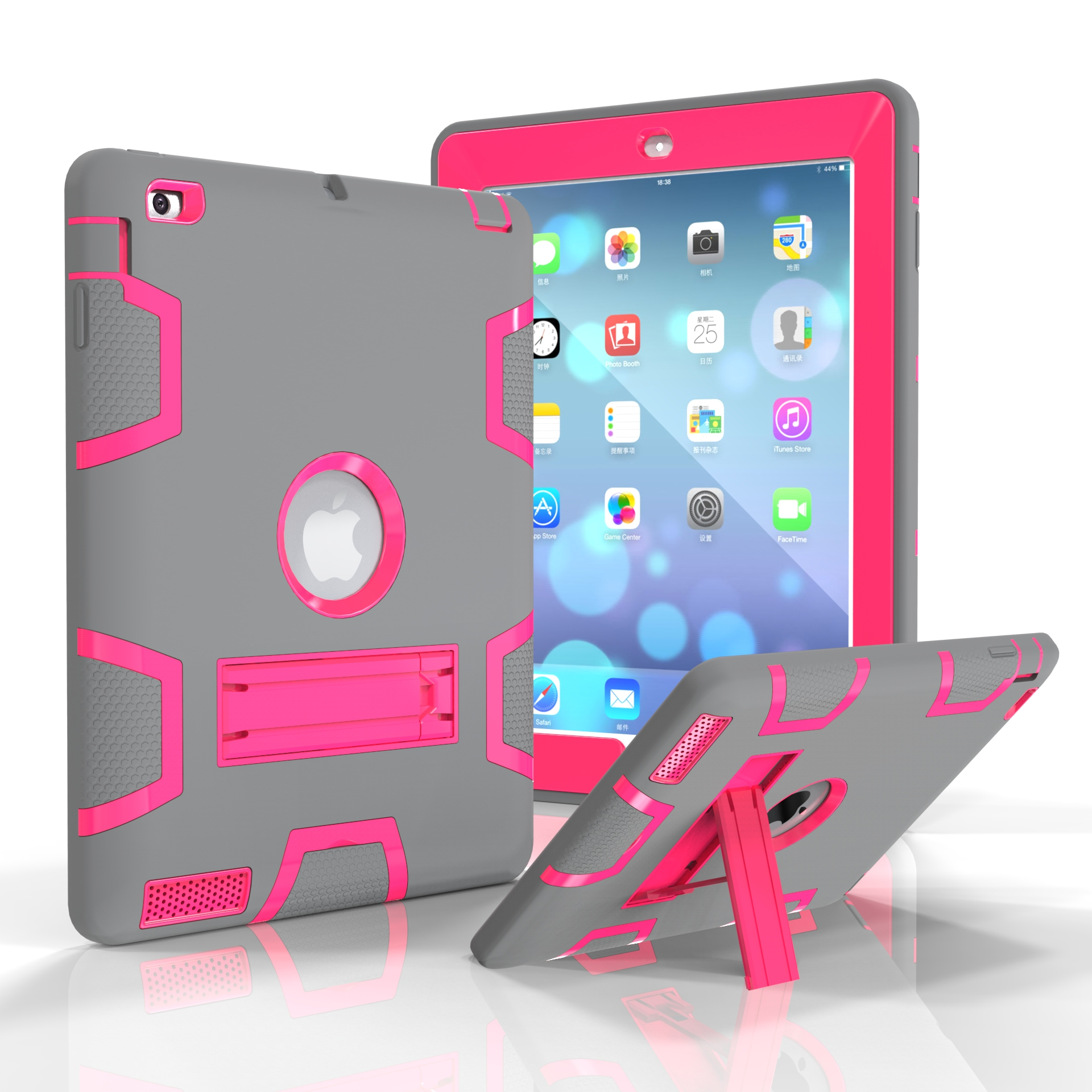 For iPad 2/3/4 PC+ Silicone Hit Color Armor Case Tri-proof Shockproof Dustproof Anti-fall Protective Cover  Gray + rose red