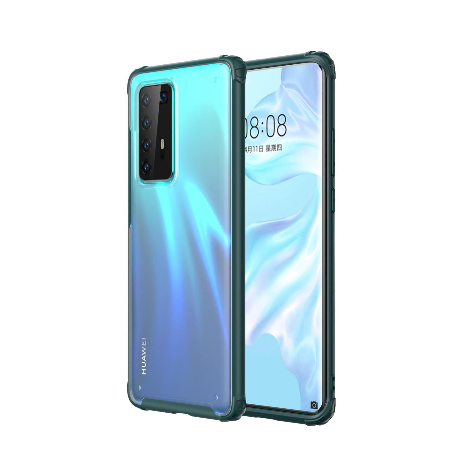 For HUAWEI P40 Pro Case PC Matte bottom TPU Soft Edge Cover Shockproof Mobile Phone Cover Dark green