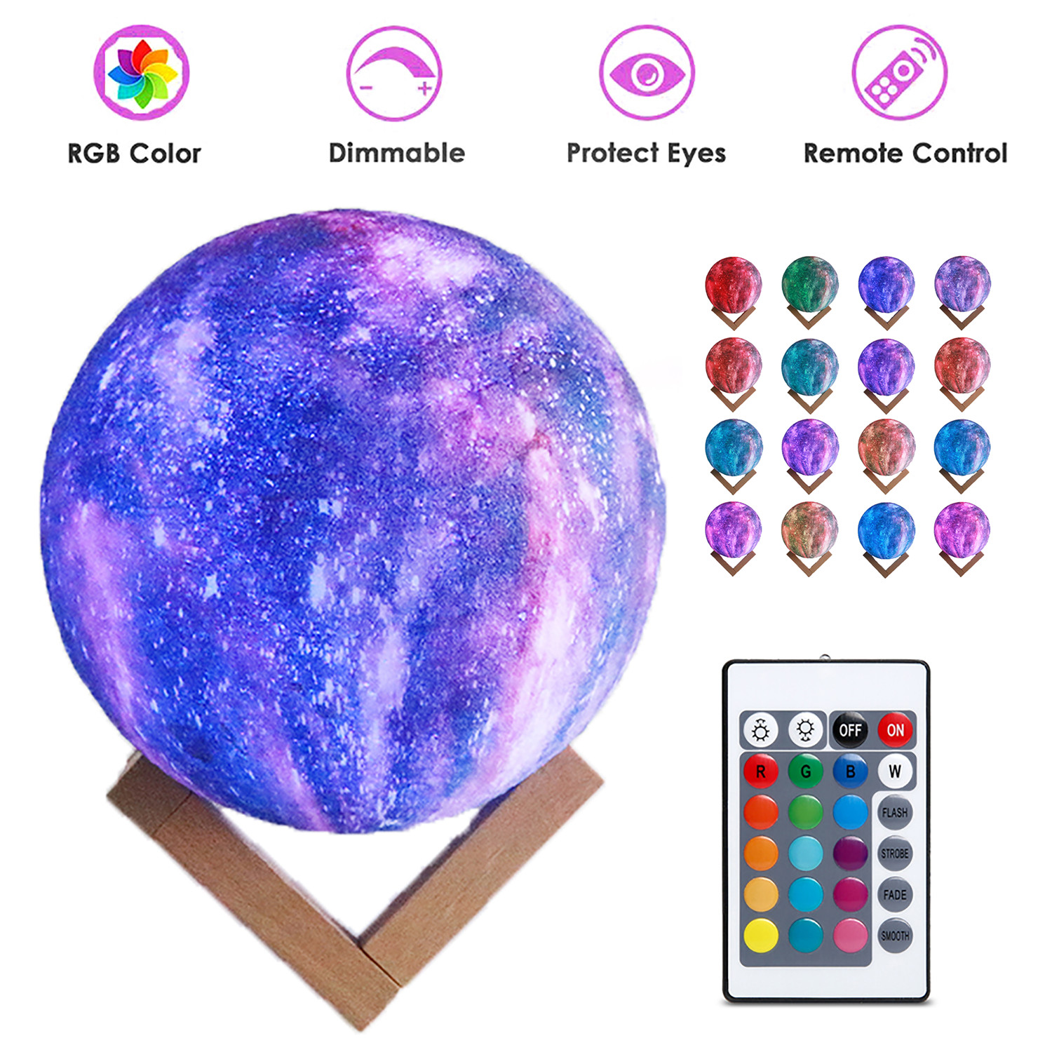 LED 3D Moon Kamp with Colored Drawing Surface Remote Control 16 Colors+Touch Function 8cm