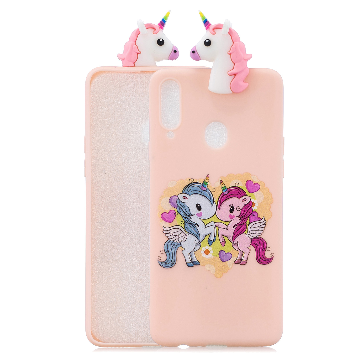 For Samsung A10S A20S Color Painting 3D Cartoon Animal Full Protective Soft TPU Mobile Phone Case Light pink