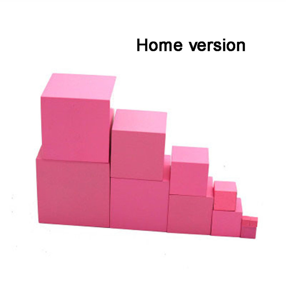 Kids Montessori Wooden Pink Blocks Tower Building Toy Smart Puzzle Wooden Shape Stacking Toy Math Early Educational Toy Home Edition