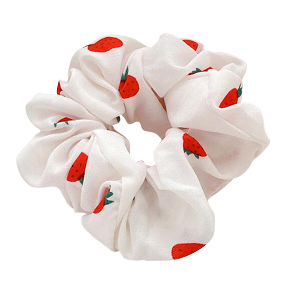 Hair Rope Strawberry Pattern Chiffon Scrunchies Elastic Hair Band white