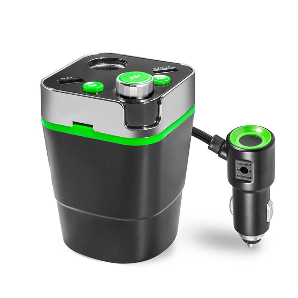 5V Cigarette Lighter Splitter A28 Car Mp3 Player Hands-free Call  green