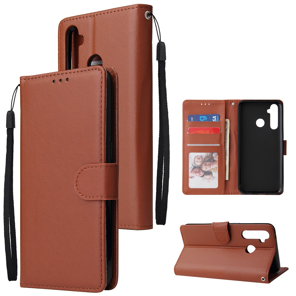 For OPPO Realme 5 Rro Cellphone Cover Buckle Closure Cards Holder Wallet Design Stand Function PU Leather Smart Shell Overall Protection  brown