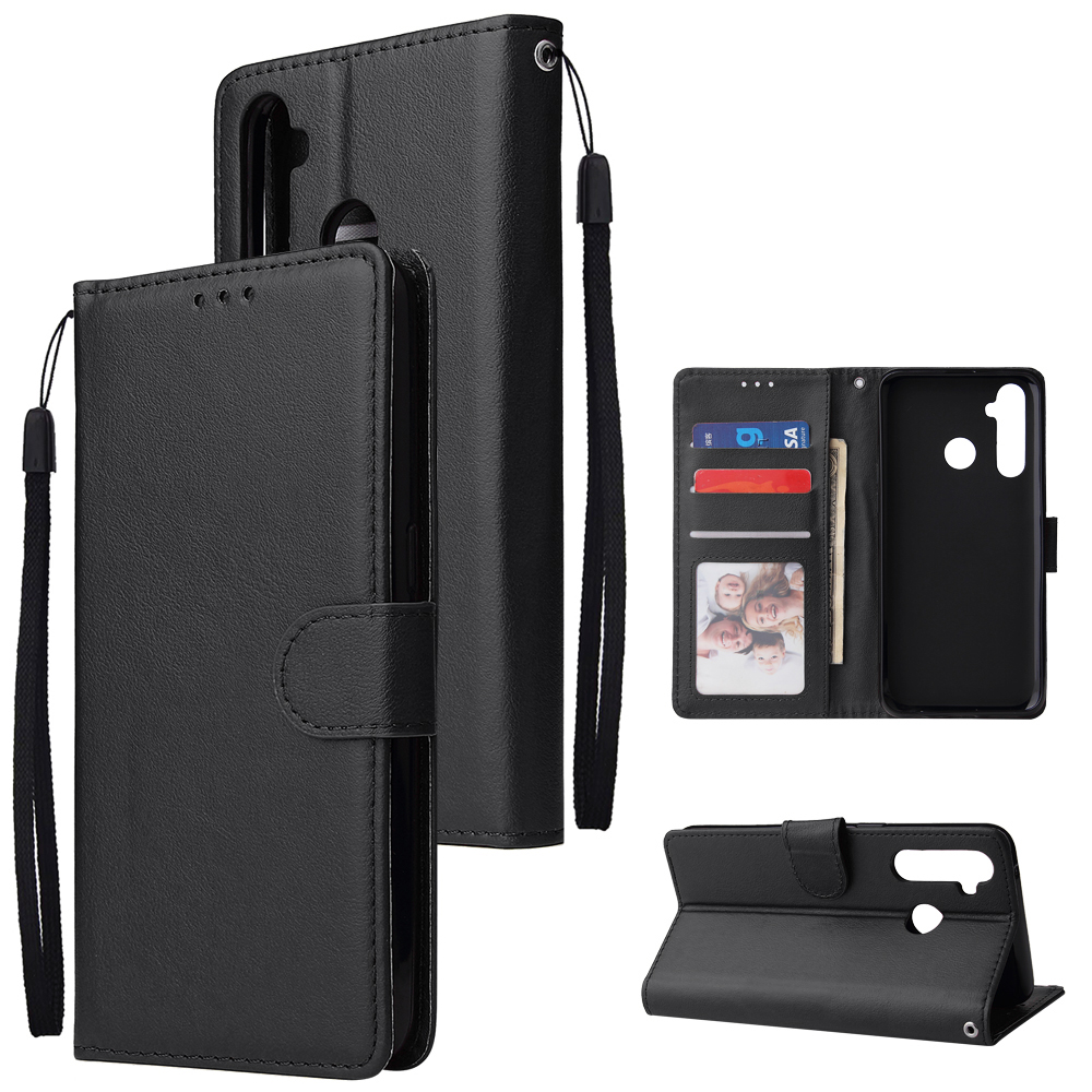 For OPPO Realme 5 Rro Cellphone Cover Buckle Closure Cards Holder Wallet Design Stand Function PU Leather Smart Shell Overall Protection  black