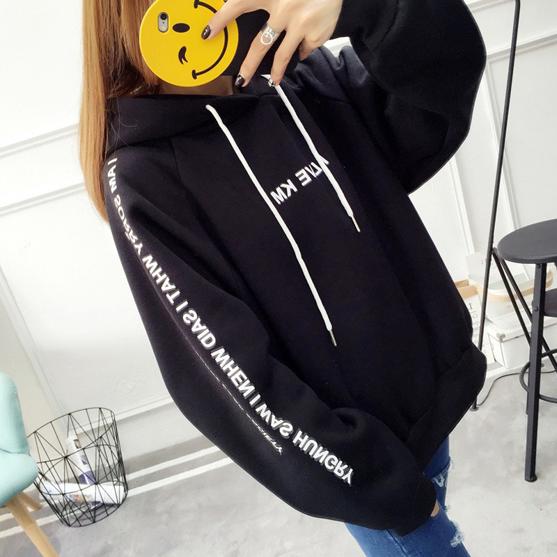 Women Letter Printed Thickened Loose Hooded Long Sleeve Warm Large Size Sweatshirts black_XXL