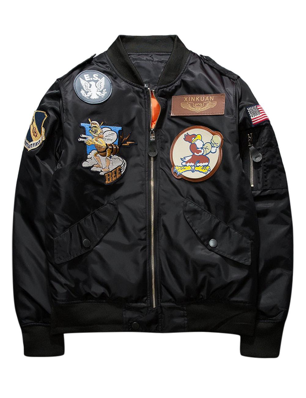 Men's Cotton Fashion Embroidery Air Uniform Jacket Black L
