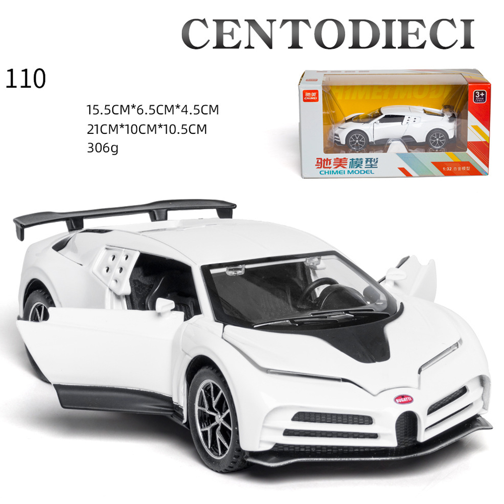 Supercar Simulation Model For Bugatti 1:32 Model 4Open Sound  Light The Door  Pull Back That will Run Toy white