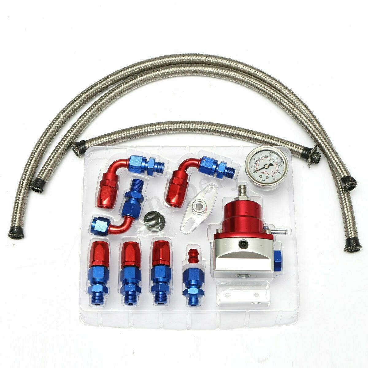 Universal Adjustable Fuel Pressure Regulator Oil Gauge PSI Adjustment Red blue