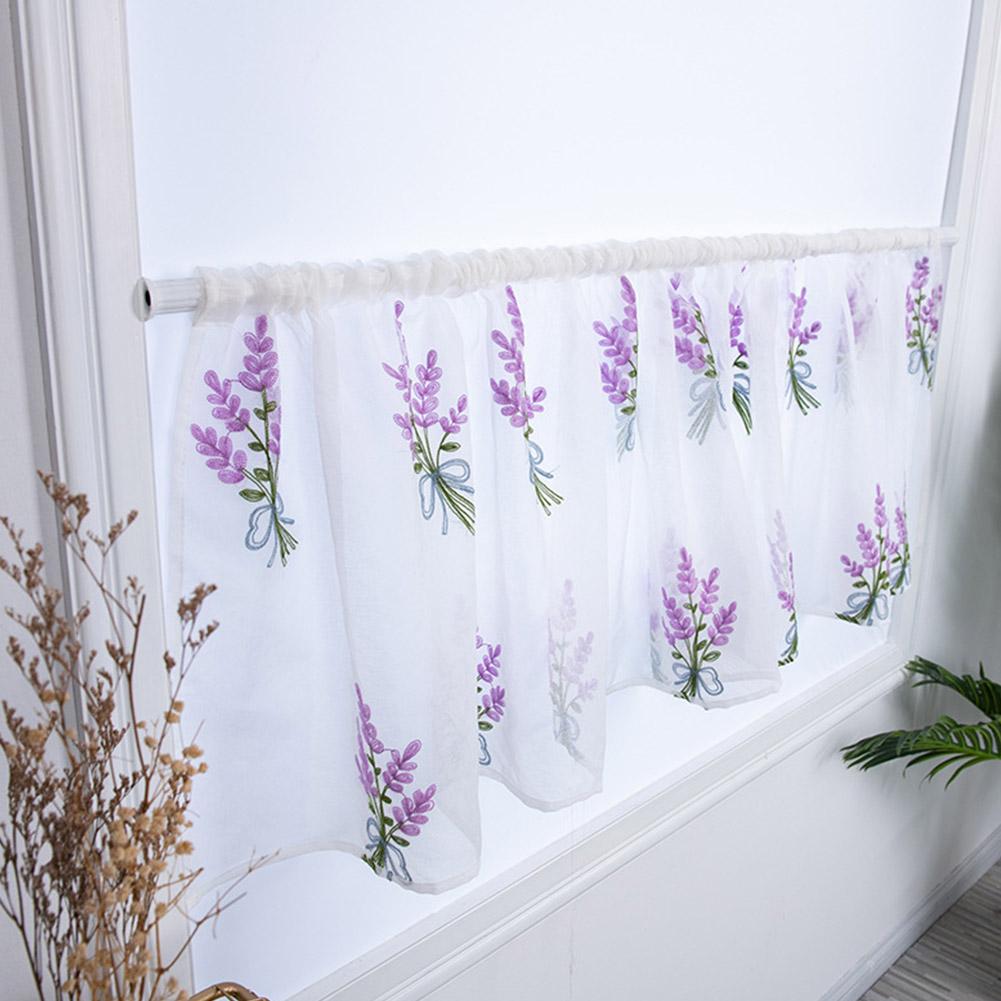 Flower Embroidery Short Curtain Pastoral Shade Kitchen Curtains Half Curtain Short Panel Drapes purple_100*50CM wear rod