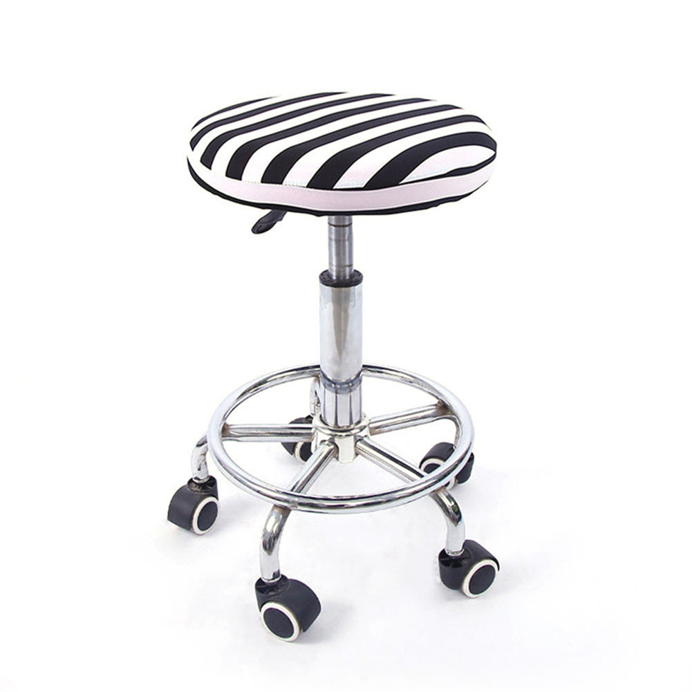 12'' Lift Stool Round Head Soft Chair Cover Micro Elastic Cushion Seat Case Black and white stripes_Flexible