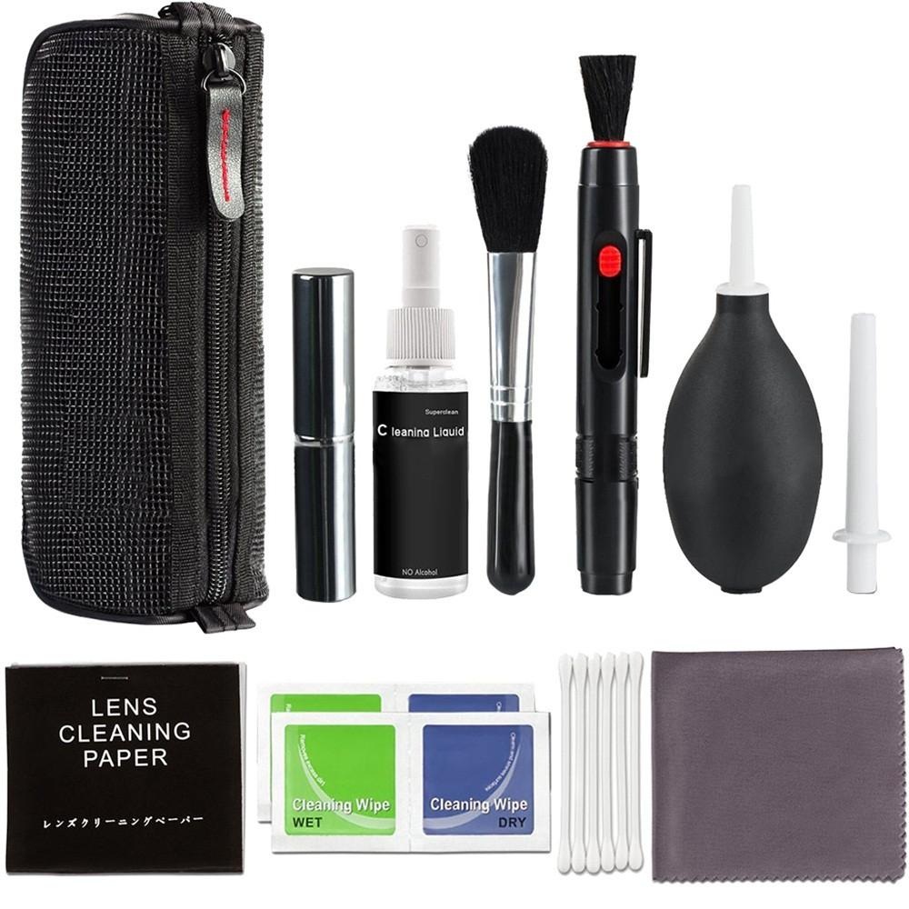 Professional Camera Cleaning Kit for Canon/Nikon/Pentax/Sony DSLR Cameras Lens Cleaning Pen Polishing Brush black