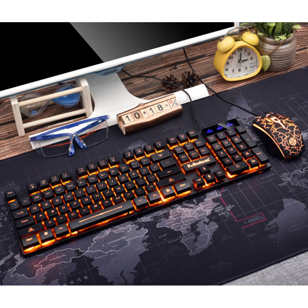 Wired Keyboard Mouse Set Mechanical Keyboard Back Light for Desktop Laptop Computer USB External Connection black and orange light set